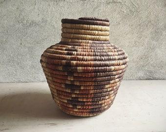 Vintage Coiled Basket Vase Earthtone Colors Bohemian Decor, Southwestern Decor, Woven Baket