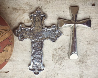 Two Small Pewter Wall Crosses Mexican Decor Wall Hanging, Metal Crosses, Catholic Gift for God Parents