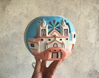 Southwestern Night Light Lamp, New Mexico Church Pottery Lamp, Southwestern Decor