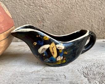 1940s Black Tlaquepaque Creamer Rare Shape, Vintage Mexican Pottery, Rustic Decor Farmhouse