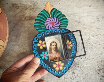 Painted Mexican Tin Shrine Wall Hanging with Jesus Sacred Heart, Altar Art, Catholic Gifts