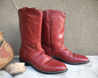 Vintage Women's Size 7 Brick Red Cowboy Boots for Women, Roper Boots, Round Toe Boots Ladies Cowgirl Fashion