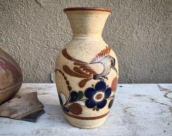 Tonala Stoneware Pottery Vase with Bird Design, Mexican Decor, Centerpiece for Southwestern Table
