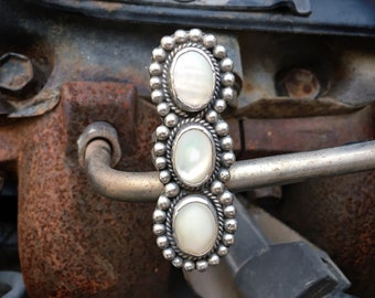 Silver and Mother of Pearl Ring for Women Size 8.25, Native America Indian Jewelry, Navajo Long Ring