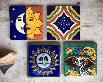 Four Vintage Mexican Ceramic Tiles, Rustic Home Decor, Southwestern Decor, Ceramics and Pottery, Talavera Pottery, Gifts Under 40 for Friend