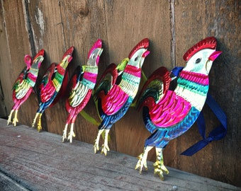 Lot of Five Mexican Tin Ornament of Roosters, Christmas Decorations, Southwestern Home Decor