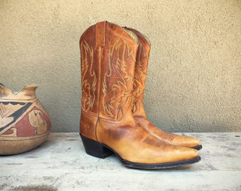 Honey Brown Cowboy Boots for Women Size 9 M (fits to 9.5), Snip Toe Brown Leather Cowgirl Boots