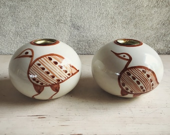 Pair of Ceramic Round Candle Holders Primitive Decor Brown and White, Rustic Home Decor