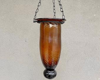 Vintage Handblown Brown Glass Hanging Vase with Black Iron Hanger, Rustic Southwestern Kitchen Decor