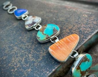 Sterling Silver Turquoise Multistone Panel Link Bracelet Navajo Milton Lee, December Birthstone