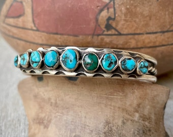 Vintage Navajo Nine-Stone Turquoise and Silver Row Bracelet, Native American Indian Jewelry Unisex