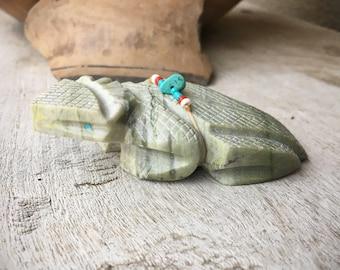Zuni Fetish by Leonard Kaskala Hand Carved Serpentine Horned Toad Turquoise Eyes, Native American Art