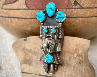 Navajo Doris Smallcanyon Sterling Silver Turquoise Yei Figure Ring Size 7.5, Native American Indian Jewelry for Men or Women Unisex Gift