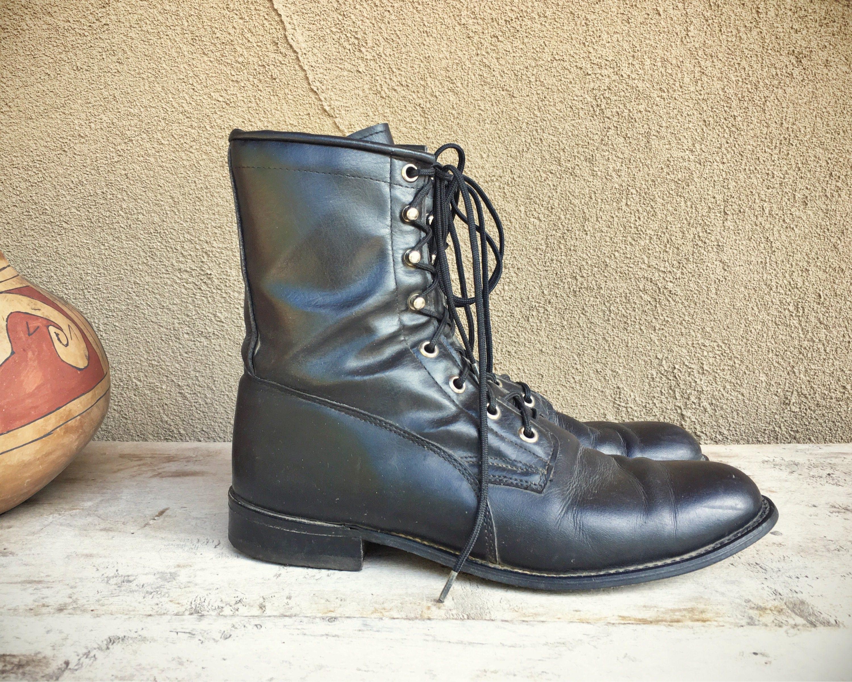 Vintage Women S Size 8 5 D Wide Black Leather Lace Up