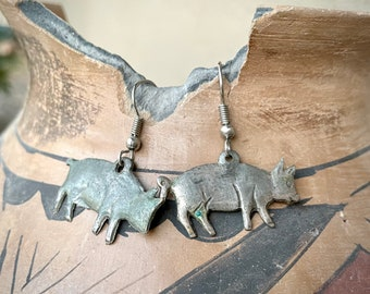 Mexican Milagro Pig Charm Earrings Silver Plated, Bohemian Jewelry, Hog Lover Gift, Farm Animal
