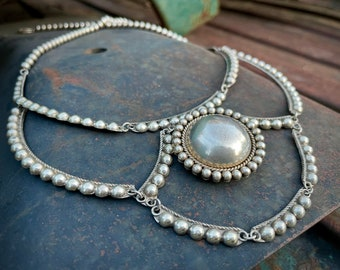 Sterling Silver Lavalier Collar Necklace by Navajo Richard Little Yellowhorse, Removable Pendant