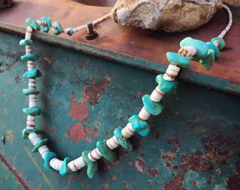 1980s Chunky Turquoise Nugget and Wide Shell Heishi Necklace for Women, Native American Indian Jewelry