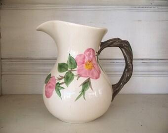 Vintage Franciscan Desert Rose Pitcher Pink Floral Design, Small Water Pitcher, Flower Vase