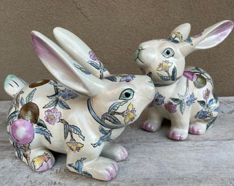 Pair of Life Size 1950s 60s Chinese Enamel Porcelain Rabbit Statues Pink Blue, Easter Decor