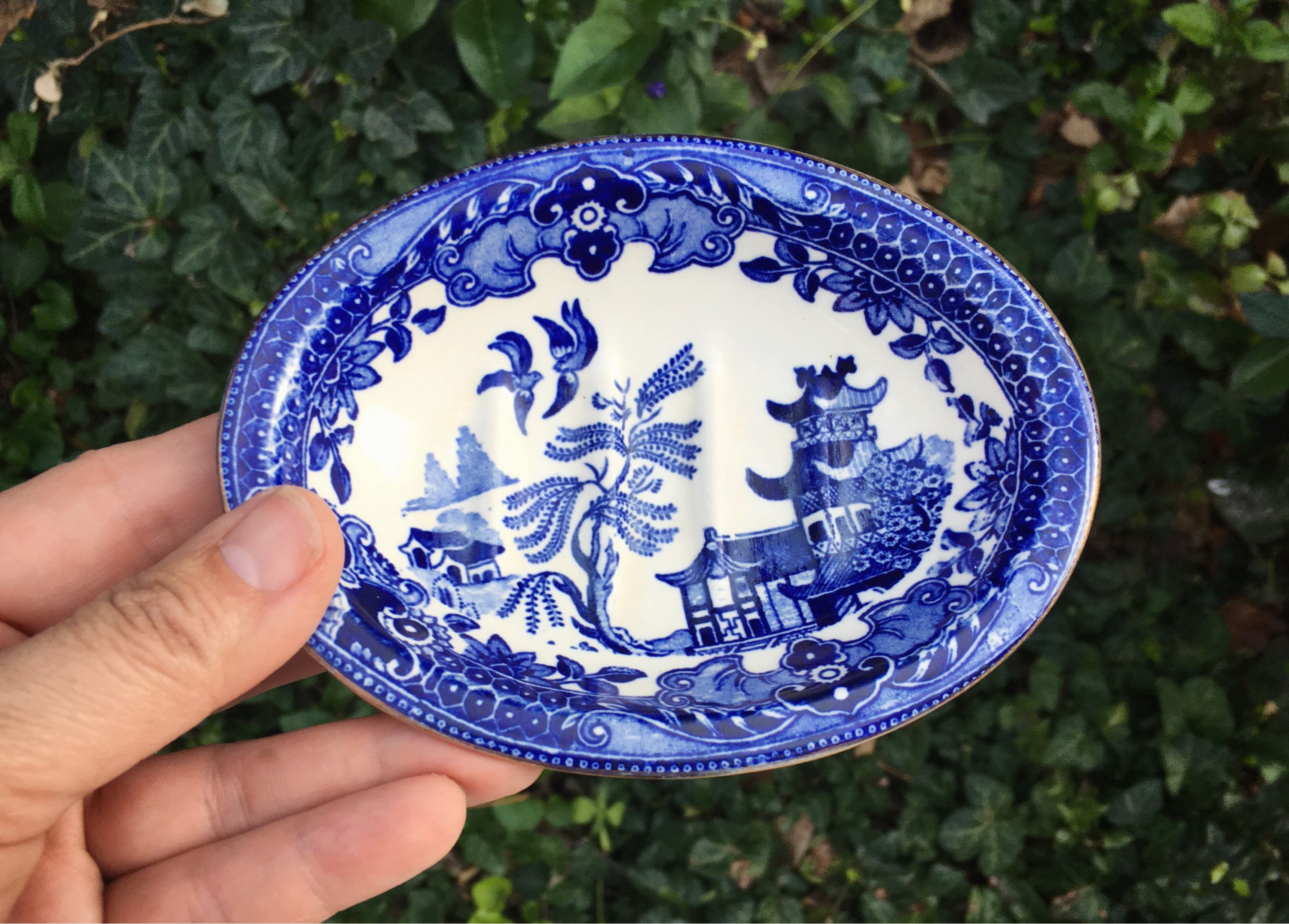 Beautiful Burslem England Porcelain Blue And White Plate-dish,willow Blue & White Transfer Ware Pottery
