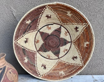"""Large 15.5"""" Coiled Basket Beige Brown Bohemian Decor, Native Style Woven, Eclectic Natural Tiki"""