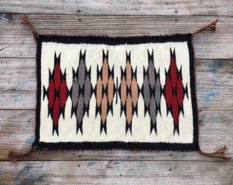 "Vintage Small 14"" x 19.5"" Navajo Rug Wall Hanging, Wall Decor Southwestern Decor, Native American Art"