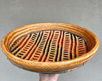"""13"""" Winnowing or Sifting Basket Earthy Farmhouse Decor, Herb Basket Collecting, Primitive Decor"""