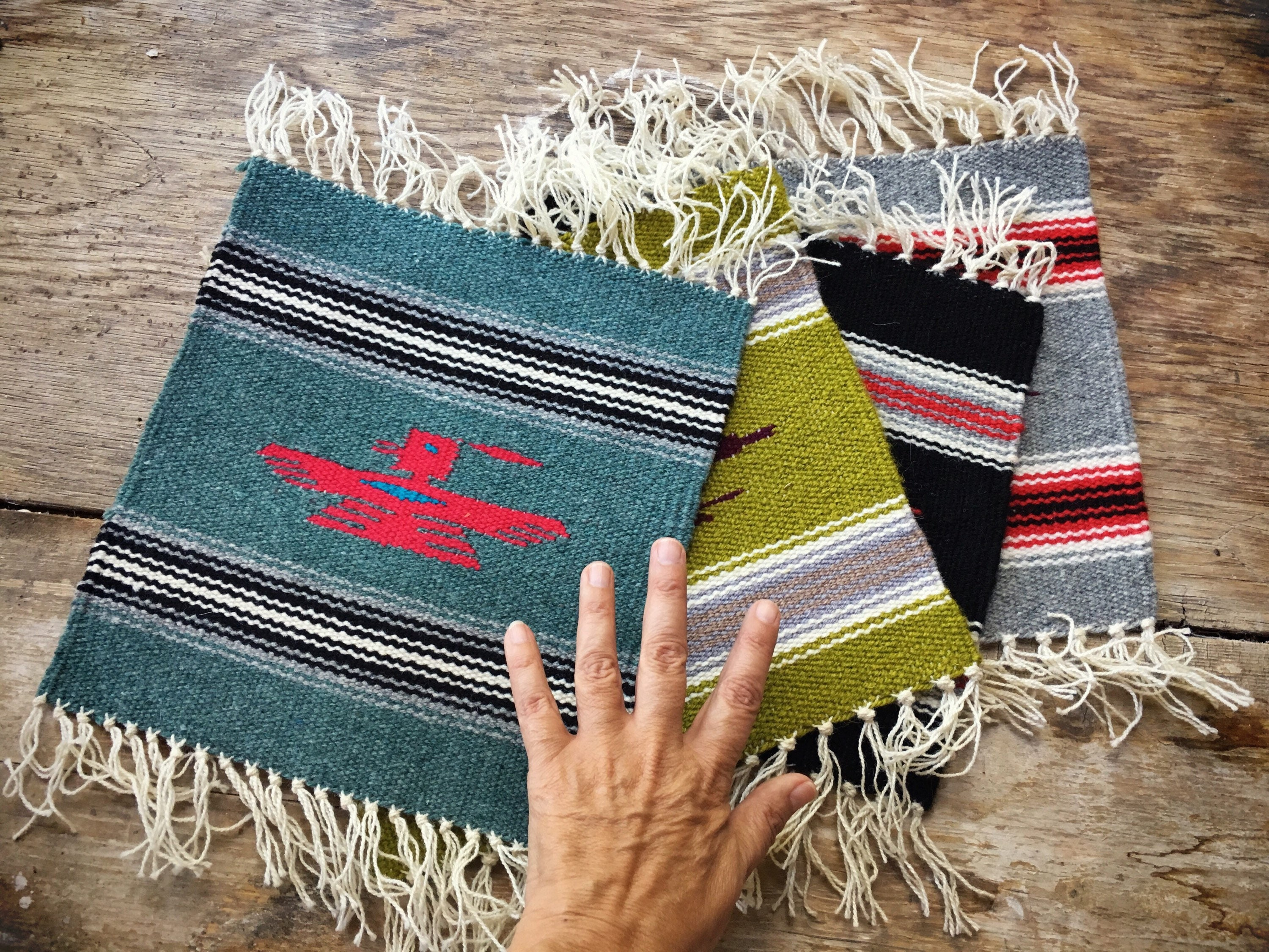 Handwoven Wool Miniature Rug Or Small Table Runner