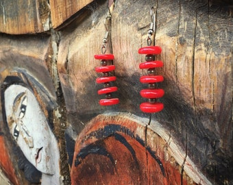 Bamboo Coral Earrings Native American Indian Red Coral Jewelry, Girlfriend Gift for Woman