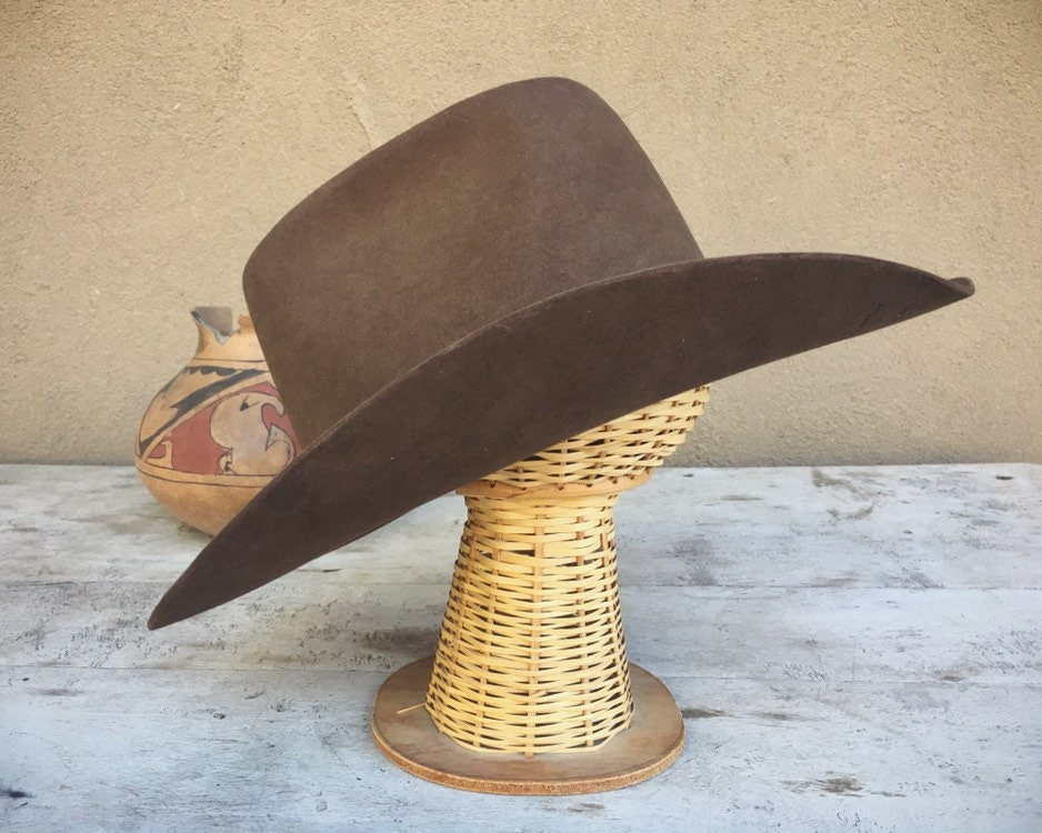 e885302c66422 Vintage Cowboy Hat for Men Women Brown Wool Resistol Size 7 3 8 ...