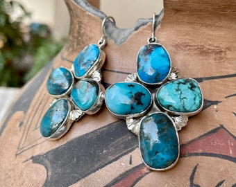 Blue Cluster Turquoise Stone Earrings by Navajo Mary Jane Garcia, Native America Indian Jewelry