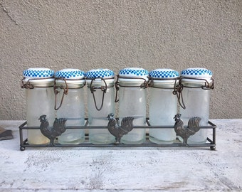 Vintage Six Small Glass Spice Jar Container with Blue White Ceramic Tops Metal Rack