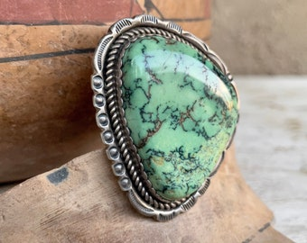Huge Green Spiderweb Turquoise Ring Size 14.5 by Navajo Frank Yellowhorse, Vintage Native American Indian Jewelry Men Women, Collectible