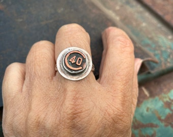 Vintage Sterling Silver Ring with the Number 40, Industrial Machine Key, Artisan Handmade Jewelry