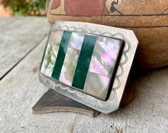 Channel Inlay Green Onyx Mother of Pearl German Silver Belt Buckle, Vintage Southwestern Accessory for Men Women, Rodeo Style, Cowgirl Gift