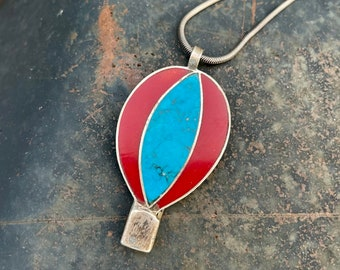 Hot Air Balloon Pendant Necklace of Faux Turquoise and Coral, Vintage Jewelry Albuquerque Gift