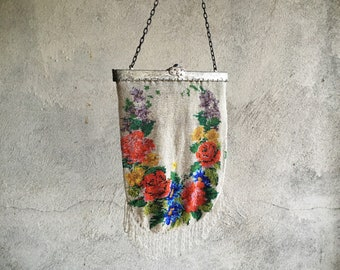Antique Micro Beaded Purse Off White with Floral Design and Stand Up Frame, Edwardian Era