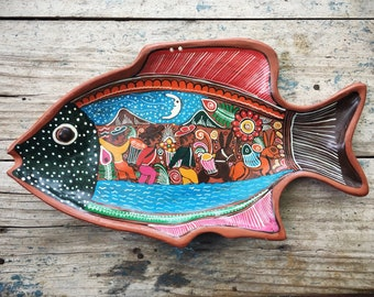 Mexican Folk Art Fish Shaped Platter for Wall, Mexican Pottery Wall Hanging, Southwestern Decor