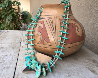 """1950s to 1960s Natural Turquoise Nugget and Heishi Two Strand Necklace 28"""", Vintage Native American"""