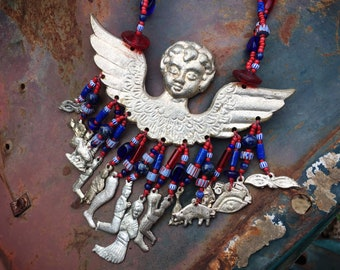 """Huge Winged Angel Milagro Charms Trade Bead Necklace 22"""", Bohemian Jewelry, Good Luck Amulets"""