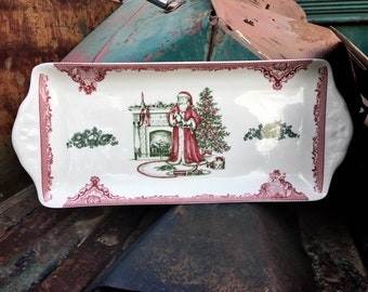 Johnson Brothers Bros Old Britain Castles Pink Christmas Santa Rectangular Tray Made in England