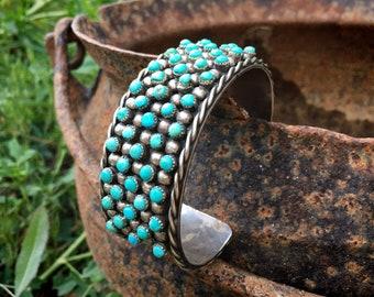 72g 1940s Zuni Snake Eye Turquoise Silver Cuff Bracelet Size 6.75, Native American Indian Jewelry