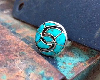 Vintage Turquoise Ring Zuni Quandelacy Channel Inlay Hummingbird Design, Native American Jewelry