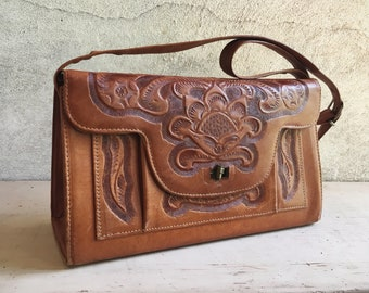 Mexican Purse Tooled Leather Bag, Western Purse, Tooled Leather Purse, Vintage Purse