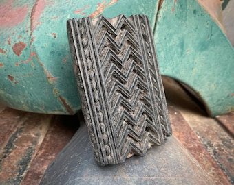 Vintage Wood Block Printing Stamp Geometric, Batik Stamp, Boho Decor Primitive Bohemian Style