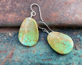 Matrixed Green Turquoise Slab Earrings Medium-Small Size, Southwestern Santo Domingo Pueblo Jewelry