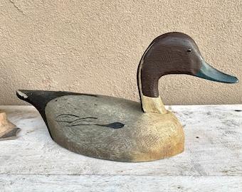 Vintage Wood Carving of Duck Decoy by Tom Martindale, Primitive Home Cabin, Canadian Folk Art