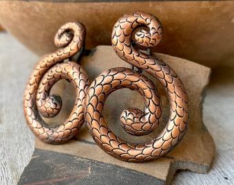 Large 1970s Diane Von Furstenberg Copper Snake Earrings, Reptile Jewelry Designer, Halloween Costume, Herpetology Gifts