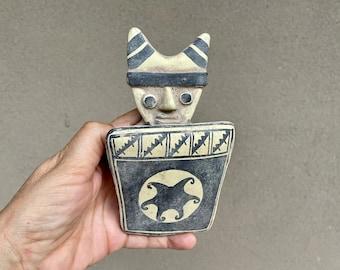 Small Vintage Replica Chancay Cucimilco Pottery Figural Effigy Statue Handmade in Peru, Pre-Incan Culture, Primitive Decor Southwestern