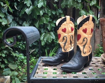 Made in Santa Fe Custom Cowboy Boots Women's US Size 6 Black Leather Overlay Boots